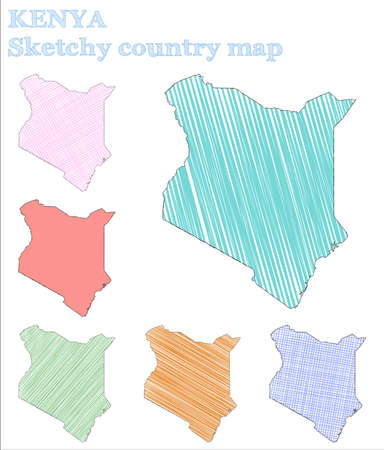 Kenya sketchy country. Neat hand drawn country. Nice childish style Kenya vector illustration.