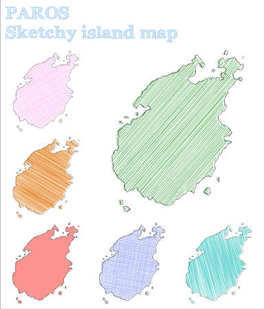 Paros sketchy island. Exceptional hand drawn island. Extra childish style Paros vector illustration. Çizim