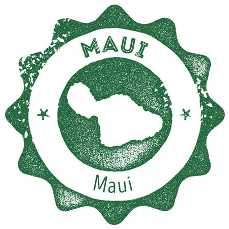 Maui map vintage stamp. Retro style handmade label, badge or element for travel souvenirs. Dark green rubber stamp with island map silhouette. Vector illustration.