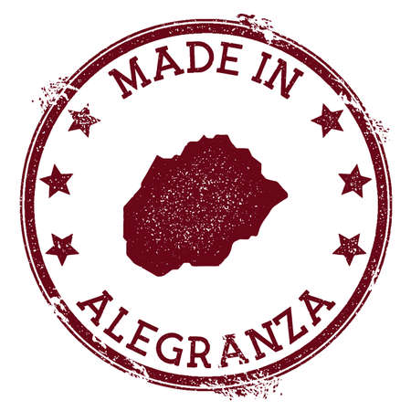 Made in Alegranza stamp. Grunge rubber stamp with Made in Alegranza text and island map. Amazing vector illustration.