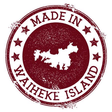 Made in Waiheke Island stamp. Grunge rubber stamp with Made in Waiheke Island text and island map. Pleasant vector illustration.