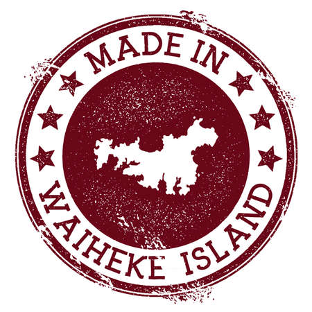 Made in Waiheke Island stamp. Grunge rubber stamp with Made in Waiheke Island text and island map. Pleasant vector illustration.