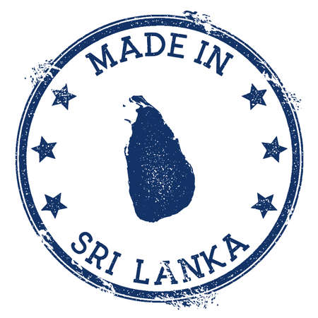 Made in Sri Lanka stamp. Grunge rubber stamp with Made in Sri Lanka text and country map. Imaginative vector illustration.