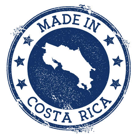 Made in Costa Rica stamp. Grunge rubber stamp with Made in Costa Rica text and country map. Lively vector illustration.