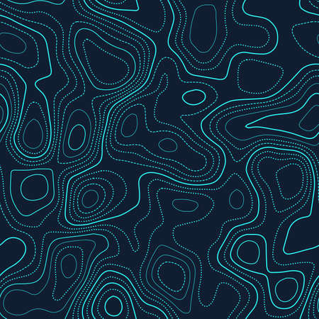Topographic map lines. Actual topography map. Futuristic seamless design, extraordinary tileable isolines pattern. Vector illustration.