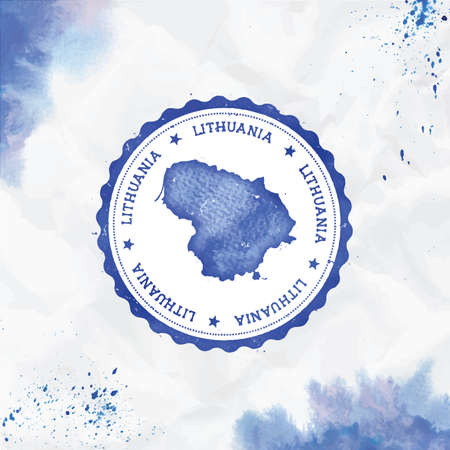 Lithuania watercolor round rubber stamp with country map. Blue Lithuania passport stamp with circular text and stars, vector illustration. Ilustração