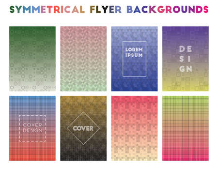 Symmetrical Flyer Backgrounds. Alive geometric patterns. Lively background. Vector illustration. Foto de archivo - 117425548