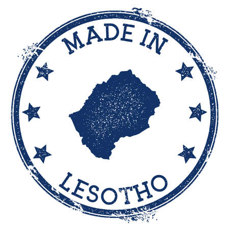 Made in Lesotho stamp. Grunge rubber stamp with Made in Lesotho text and country map. Impressive vector illustration.