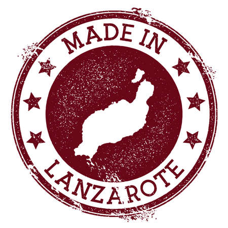 Made in Lanzarote stamp. Grunge rubber stamp with Made in Lanzarote text and island map. Eminent vector illustration.