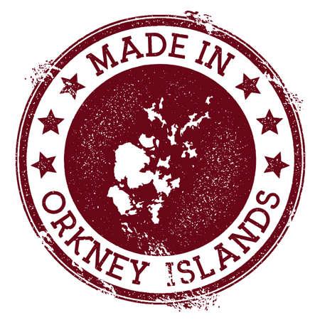 Made in Orkney Islands stamp. Grunge rubber stamp with Made in Orkney Islands text and island map. Resplendent vector illustration.
