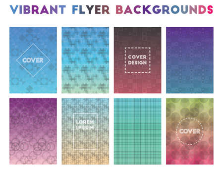 Vibrant Flyer Backgrounds. Alluring geometric patterns. Fantastic background. Vector illustration. Stock Illustratie