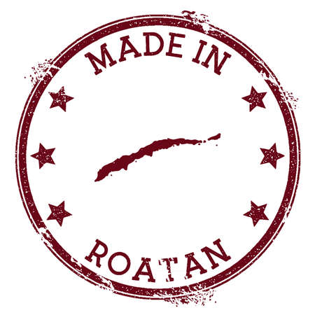 Made in Roatan stamp. Grunge rubber stamp with Made in Roatan text and island map. Beauteous vector illustration.