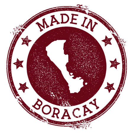 Made in Boracay stamp. Grunge rubber stamp with Made in Boracay text and island map. Decent vector illustration. Illustration