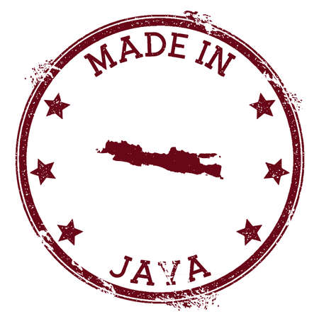 Made in Java stamp. Grunge rubber stamp with Made in Java text and island map. Vibrant vector illustration. 向量圖像