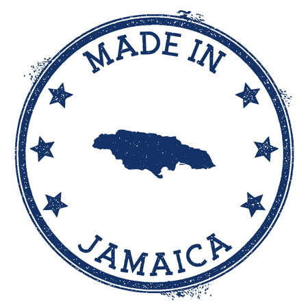 Made in Jamaica stamp. Grunge rubber stamp with Made in Jamaica text and country map. Elegant vector illustration.