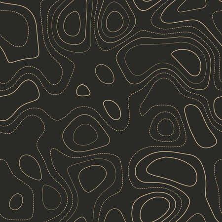 Amazing topography. Actual topography map. Seamless design. Pleasing tileable isolines pattern, vector illustration.