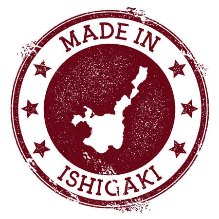 Made in Ishigaki stamp. Grunge rubber stamp with Made in Ishigaki text and island map. Terrific vector illustration.