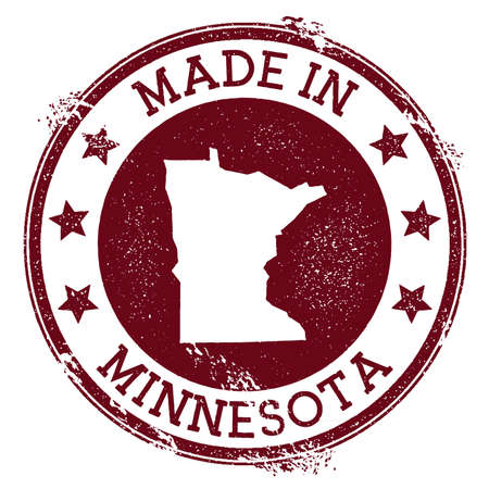 Made in Minnesota stamp. Grunge rubber stamp with Made in Minnesota text and us state map. Bewitching vector illustration. Illustration