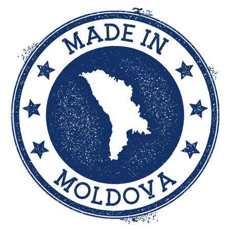 Made in Moldova stamp. Grunge rubber stamp with Made in Moldova text and country map. Magnificent vector illustration.