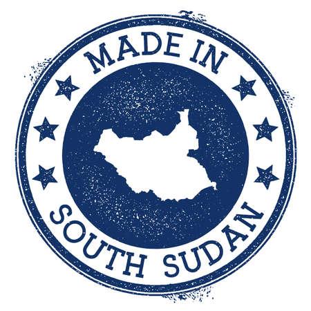 Fatto nel timbro del Sud Sudan. Timbro di gomma grunge con testo Made in Sud Sudan e mappa del paese. Illustrazione vettoriale squisita.