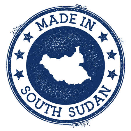 Made in South Sudan stamp. Grunge rubber stamp with Made in South Sudan text and country map. Exquisite vector illustration.