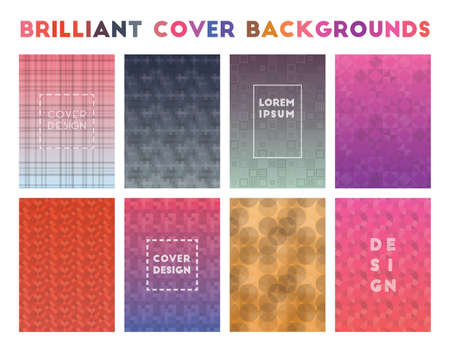Brilliant Cover Backgrounds. Alluring geometric patterns. Symmetrical background. Vector illustration.