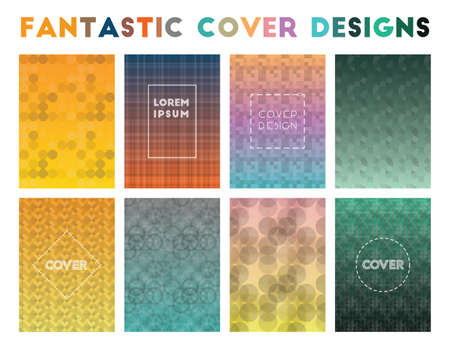 Fantastic Cover Designs. Actual geometric patterns. Juicy background. Vector illustration.