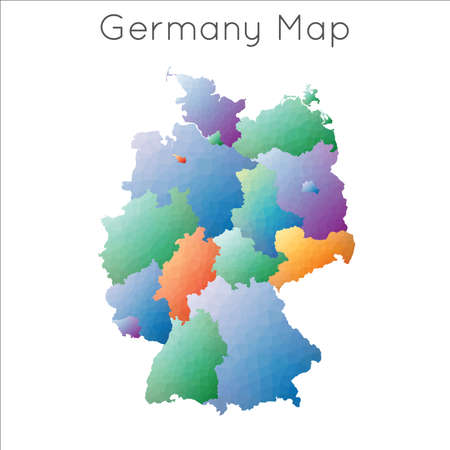 Low Poly map of Germany. Germany geometric polygonal, mosaic style map.