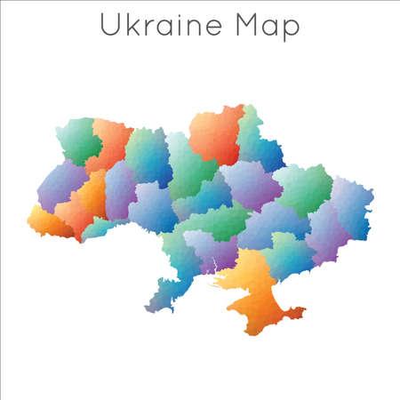 Low Poly map of Ukraine. Ukraine geometric polygonal, mosaic style map.