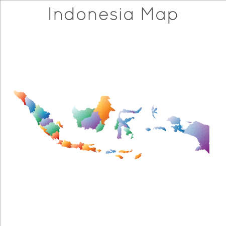 Low Poly map of Indonesia. Indonesia geometric polygonal, mosaic style map. Illustration