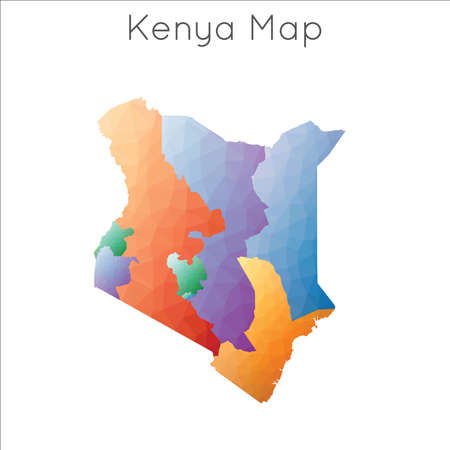Low Poly map of Kenya. Kenya geometric polygonal, mosaic style map.  イラスト・ベクター素材