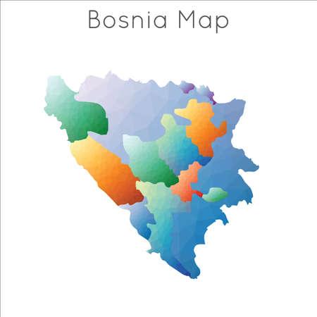 Low Poly map of Bosnia. Bosnia geometric polygonal, mosaic style map.