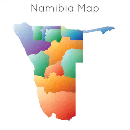 Low Poly map of Namibia. Namibia geometric polygonal, mosaic style map.