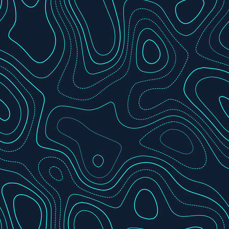 Topographic contours. Admirable topography map. Futuristic seamless design, energetic tileable isolines pattern. Vector illustration.