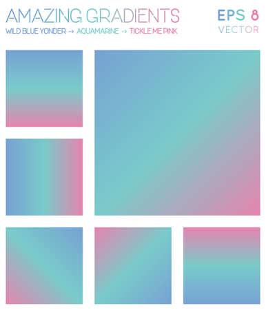 Colorful gradients in wild blue yonder, aquamarine, tickle me pink color tones. Actual gradient background, curious vector illustration.