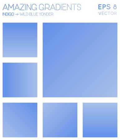Bunte Farbverläufe in Indigo, wildes Blau da drüben Farbtöne. Bewundernswerter Hintergrund mit Farbverlauf, symmetrische Vektorillustration. Vektorgrafik