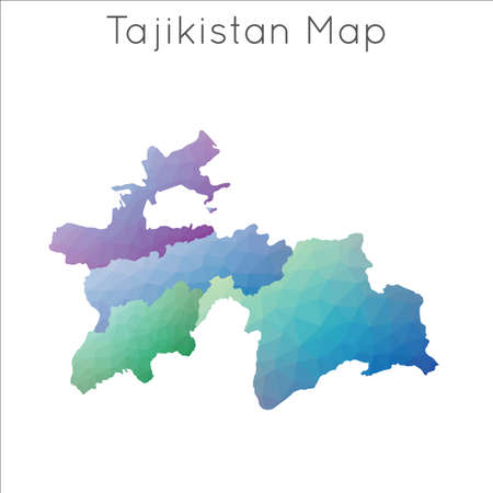 Low Poly map of Tajikistan. Tajikistan geometric polygonal, mosaic style map. Banque d'images - 124747001