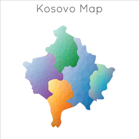 Low Poly map of Kosovo. Kosovo geometric polygonal, mosaic style map. Banque d'images - 124747002