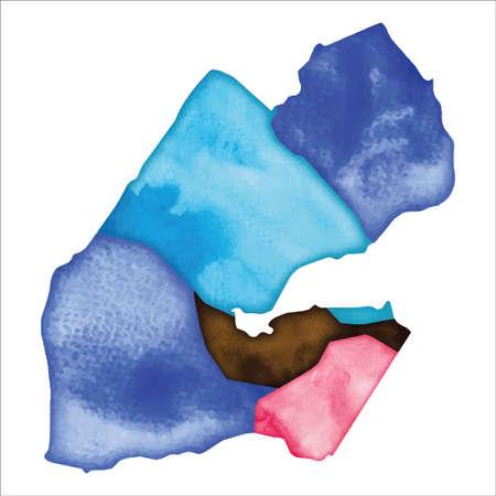 Map of Djibouti. Colourful watercolor Djibouti map. Enchanting country vector illustration.