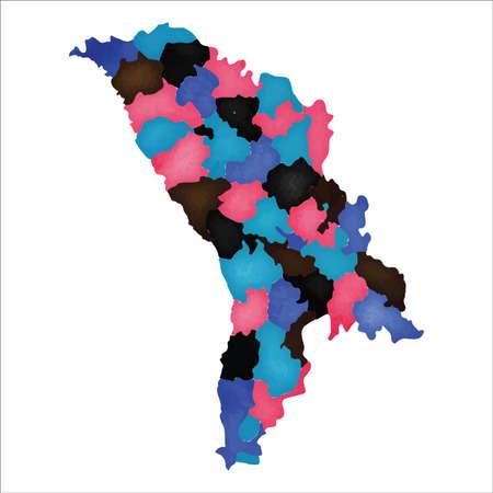 Map of Moldova. Colourful watercolor Moldova map. Precious country vector illustration. Ilustrace