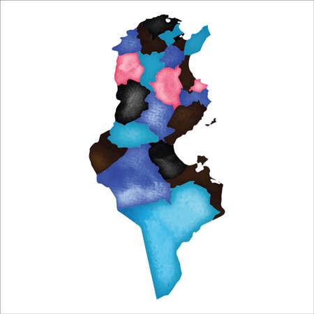 Map of Tunisia. Colourful watercolor Tunisia map. Delicate country vector illustration.