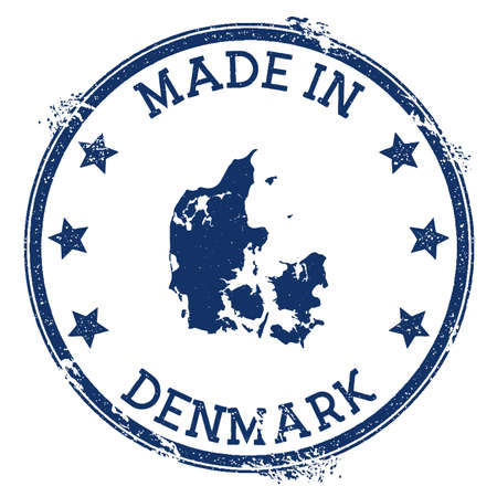 Made in Denmark stamp. Grunge rubber stamp with Made in Denmark text and country map. Outstanding vector illustration. Banque d'images - 124696609