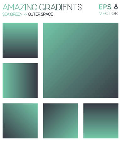 Colorful gradients in sea green, outer space color tones. Actual gradient background, vibrant vector illustration.