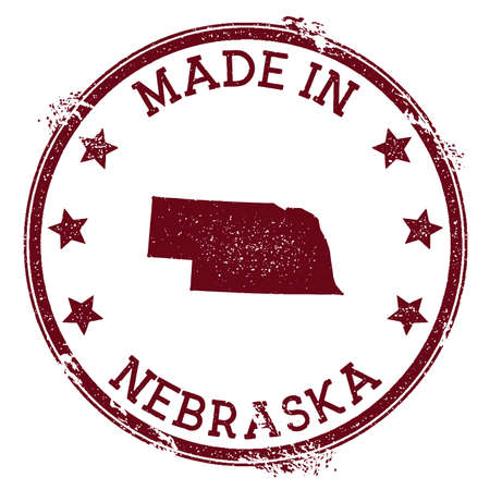 Made in Nebraska stamp. Grunge rubber stamp with Made in Nebraska text and us state map. Cute vector illustration. Stock Illustratie