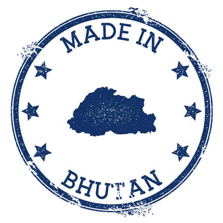 Made in Bhutan stamp. Grunge rubber stamp with Made in Bhutan text and country map. Fancy vector illustration. Stock Illustratie