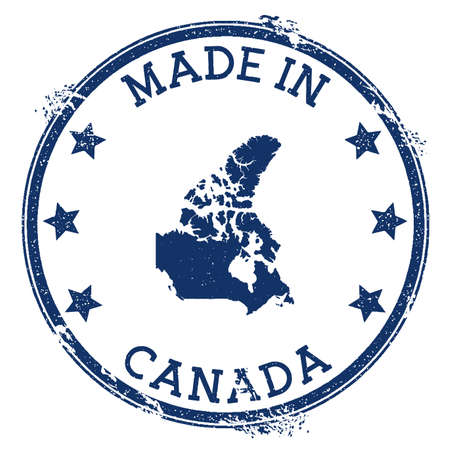 Made in Canada stamp. Grunge rubber stamp with Made in Canada text and country map. Flawless vector illustration. Banque d'images - 124696616