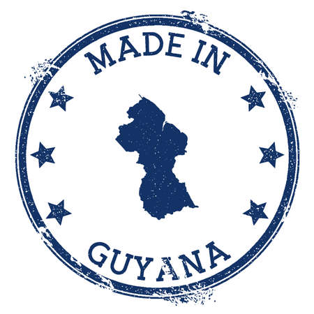 Made in Guyana stamp. Grunge rubber stamp with Made in Guyana text and country map. Attractive vector illustration. Stock Illustratie