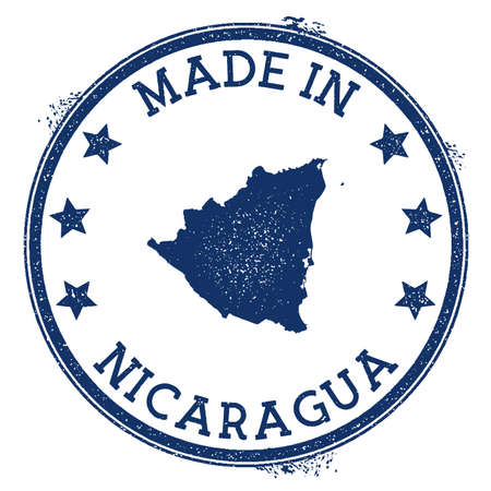 Made in Nicaragua stamp. Grunge rubber stamp with Made in Nicaragua text and country map. Stylish vector illustration.