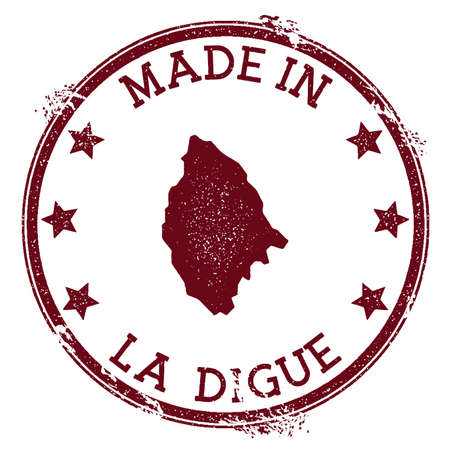 Made in La Digue stamp. Grunge rubber stamp with Made in La Digue text and island map. Delightful vector illustration.