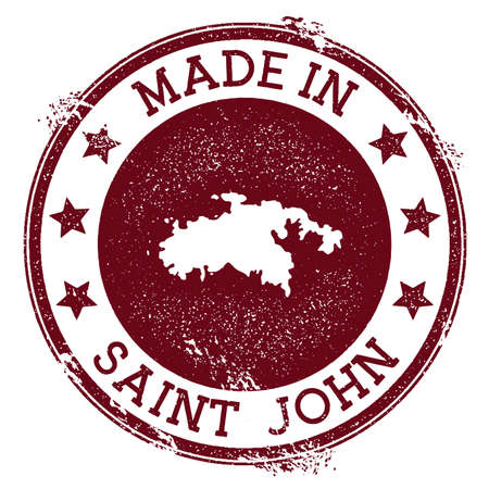 Made in Saint John stamp. Grunge rubber stamp with Made in Saint John text and island map. Breathtaking vector illustration. Banque d'images - 124696622